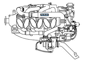 Continental IO-520 Aircraft Engine Line Art