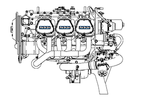 Lycoming 540 Aircraft Engine Line Art
